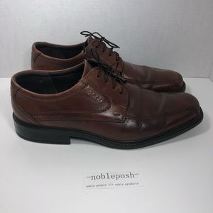 Ecco lace up brown leather loafers